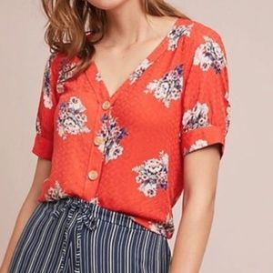 Anthro • Floral Button Front Top